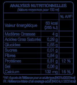 Tableau Nutritionnelle Boisson Express Vegan PROTEINES 10 LA MANDORLE